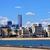 Photo was taken at the port looking towards the downtown area of Melbourne. The Eureka Tower is shown beyond.