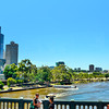 A view of Yarra River by SBS Studio (at left)<br /> <br /> The Yarra River, originally Berrern, Birr-arrung, Bay-ray-rung, Birarang and Birrarung, is a river in east-central Victoria, Australia. The lower stretches of the river is where the city of Melbourne was established in 1835 and today Greater Melbourne dominates and influences the landscape of its lower reaches. From its source in the Yarra Ranges, it flows 242 km west through the Yarra Valley which opens out into plains as it winds its way through Greater Melbourne before emptying into Hobsons Bay in northernmost Port Phillip.