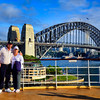 Mike and Barbara with the Sydney Harbor Bridge and Lavender Bay beyond the bridge.
