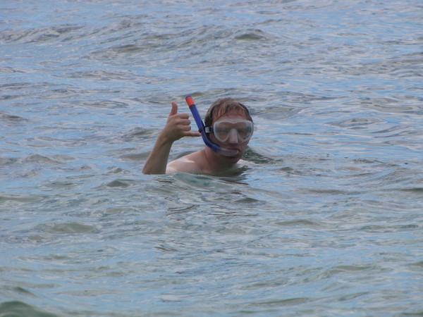 Looks like Shawn's enjoying the water and snorkeling at Tunnels Beach! :-)