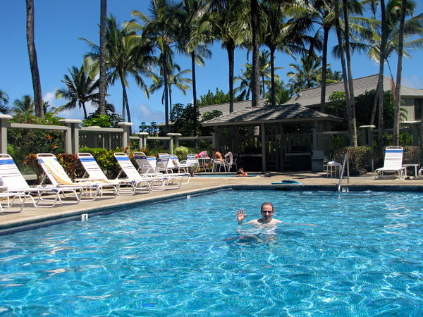 There's Shawn taking a dip at our Resort's pool in Kauai... and he's loving it! :-)