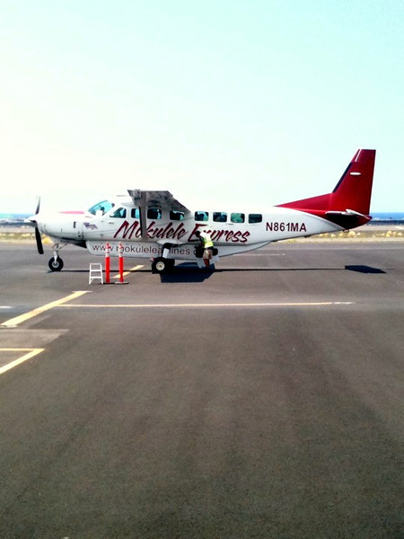 """As Molokai is a small Island that doesn't get tons of tourists, the planes that fly over there from the other Islands are pretty tiny... which is part of the charm of Molokai! :-)  Click below to see our Video footage of our plane ride over from Kona... it was Gorgeous!! <a href=""""http://nancyandshawnpower.com/scenes-of-maui-molokai-from-flight-to-molokai-hawaii/"""">http://nancyandshawnpower.com/scenes-of-maui-molokai-from-flight-to-molokai-hawaii/</a>"""
