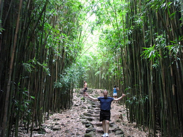 The coolest part pf the trail was walking through all the bamboo trees... tons of them! There's Shawn taking it all in! :-)