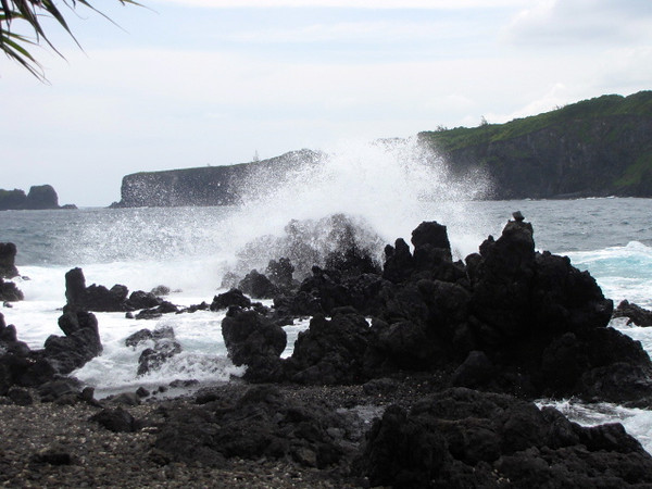The water is very powerful in Hawaii as you can see by the surf against the rocks here!