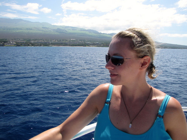 """There's Nancy taking in a last few glimpses of the shoreline as we make our way back to port... looks like she enjoyed! :-) Again, you can see our video of our fun day at: <a href=""""http://nancyandshawnpower.com/road-to-hana-snuba-molokini-maui-hawaii/"""">http://nancyandshawnpower.com/road-to-hana-snuba-molokini-maui-hawaii/</a>"""