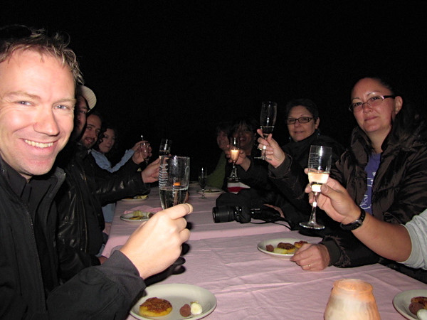"A definite highlight of our ride was the ""Balloonist's Prayer"" Champagne Toast after our flight!! Champagne & h'ordeuvres in the middle of the desert... fun! :-)"