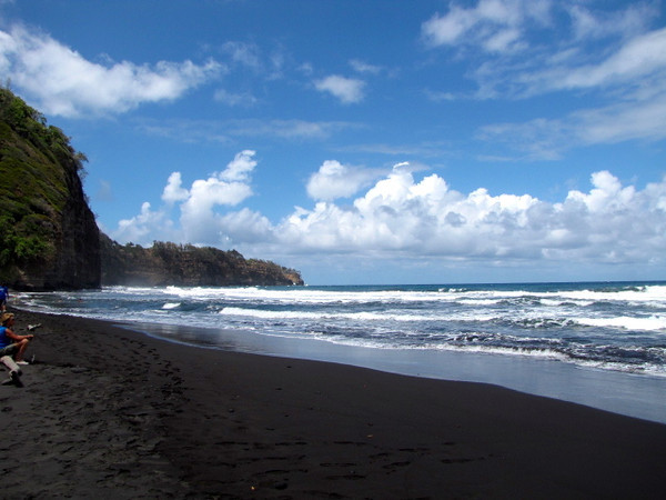 "One thing's for sure about a black sand beach... it certainly makes the other colors ""pop"" more then normal... check out the vivid colors in the sky, clouds & water."