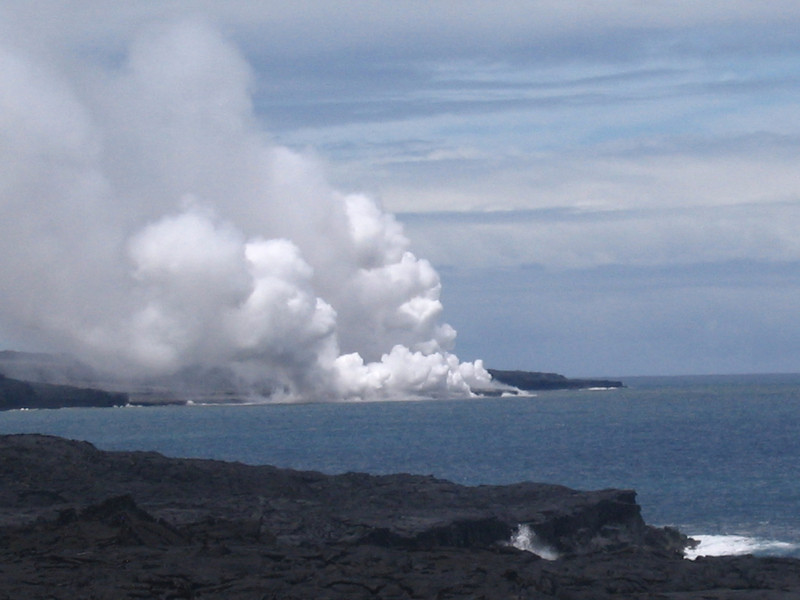 Seeing the lava flow into the water and producing huge amounts of steam like this is a pretty amazing site... imagine the temperature difference between the two to create this!