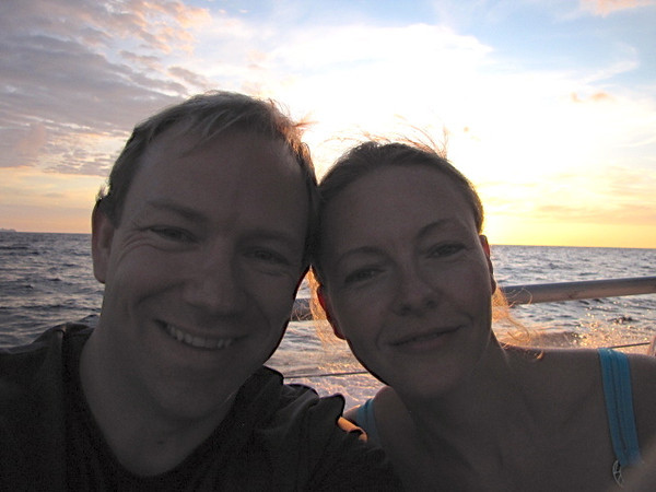 There's one happy couple, knowing we're about to go swim with beautiful Manta rays... a first for both of us.