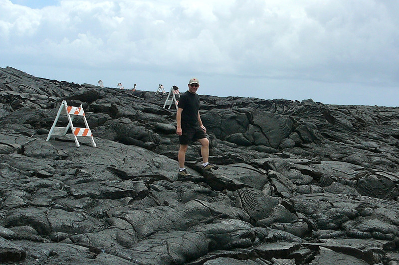 If Shawn's walking on it we know this lava didn't flow anytime recently. :-) Apparently due to the heat and constant flow after eruption it can take weeks to cool!