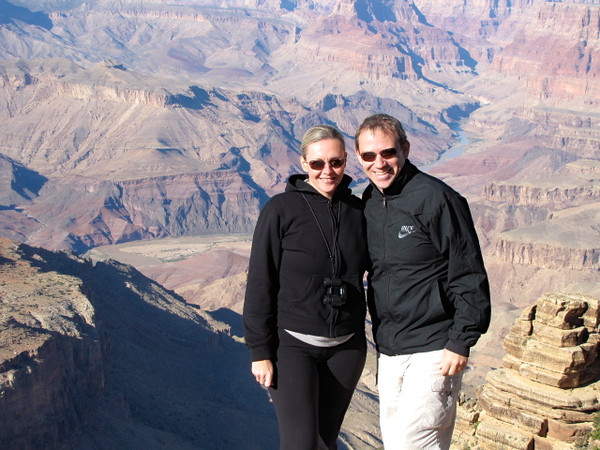 "What do you think... are we looking pretty happy to now be able to scratch the Grand Canyon off of our ""Bucket List""? :-)"