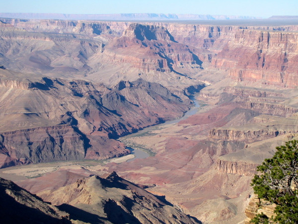 There's a peek at the Colorado River flowing through the Grand Canyon
