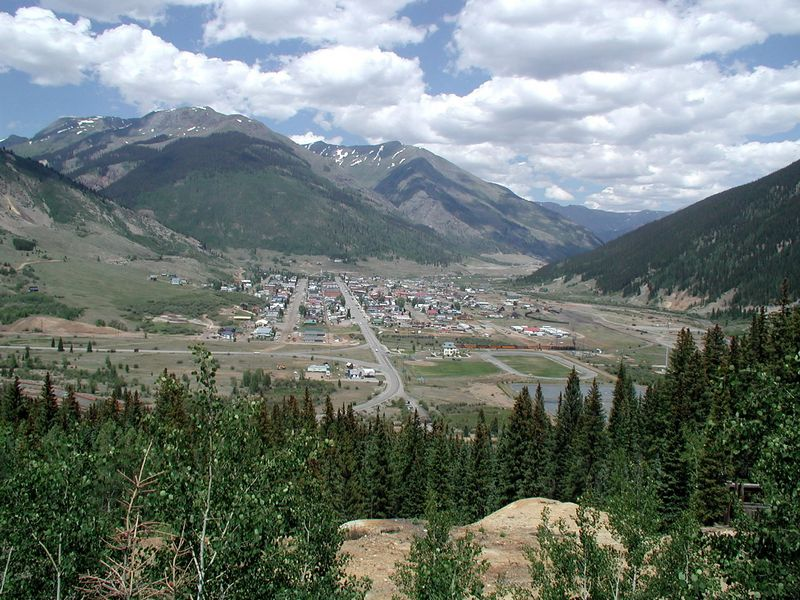 The first sight of Silverton, entering from the south, Durango.