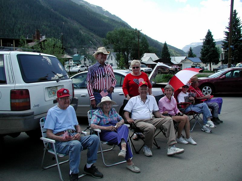 All the Porters, waiting for the parade. (Seated - Dad, Mom, David and Syl: Don and Linda behind)