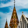 Tiled church steeple in Budapest