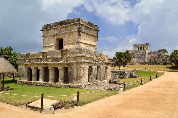 Mexico, Tulum, Temple of the Descending God and Castle