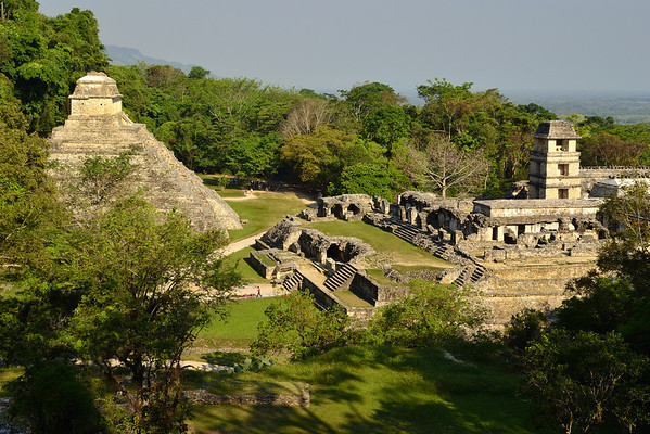 Mexico, Palenque, Temple of the Inscriptions and Palace