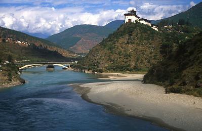 Wangdi Dzong, one of the many monasteries in Bhutan
