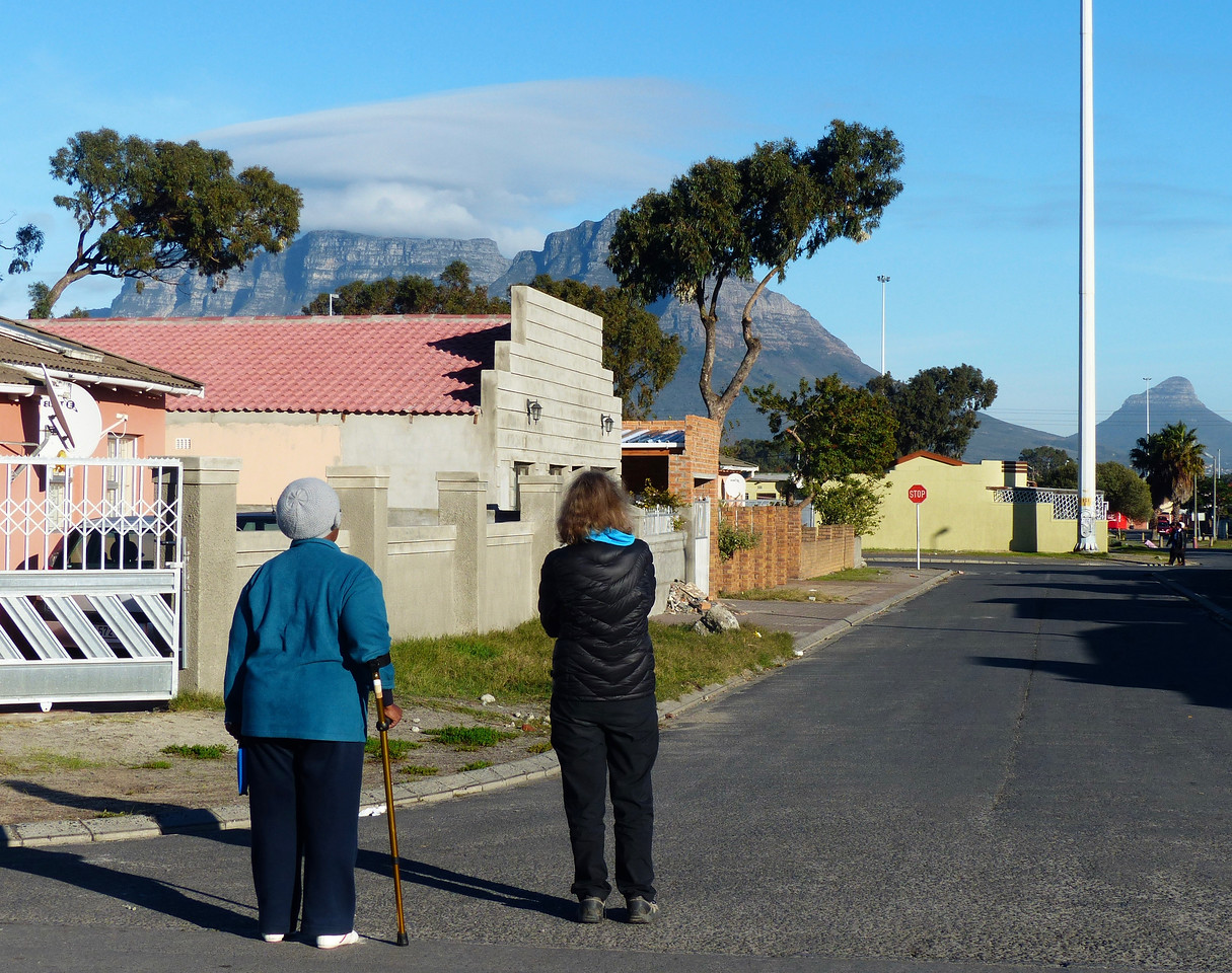 You can see Table Mountain from Langa. We were impressed by the sense of community. Many people stay here to be close to  friends and relatives.