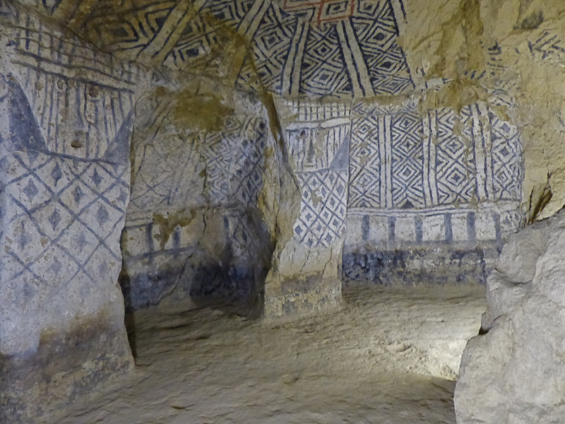 The colorful paint was still present in some. We explored at least fifteen to twenty of the tombs.