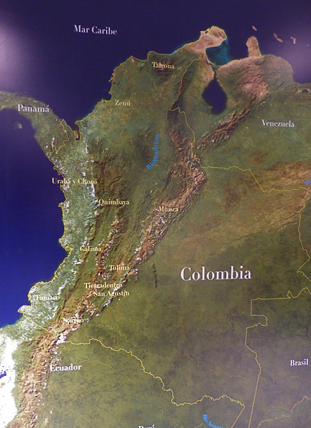 Colombia is as big as California and Texas combined with a population of 78 million. The Andes splits into 3 ranges with 2 large valleys in between called Cauca and Magdalena. Almost half of Colombia is in the Amazon jungle with few people.