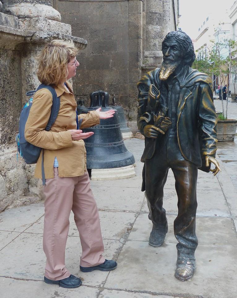 Havana - Rena trying to srtrike up a conversation in  Plaza de San Francisco