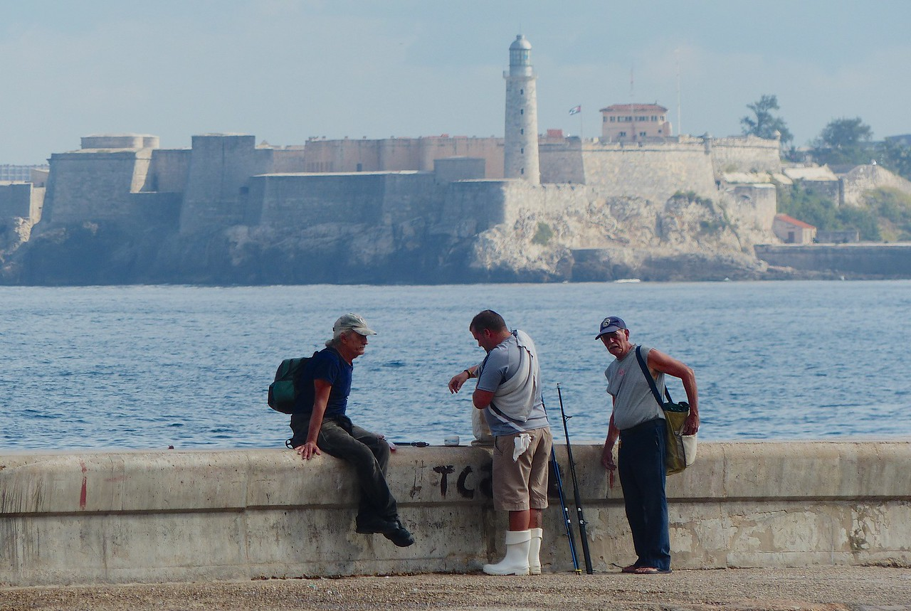 Havana - The Malacon with the huge  fort behind.