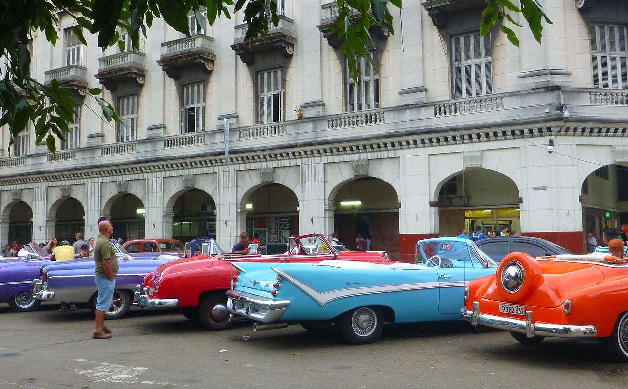 Havana - Classic cars at  Parque Central on the Prado