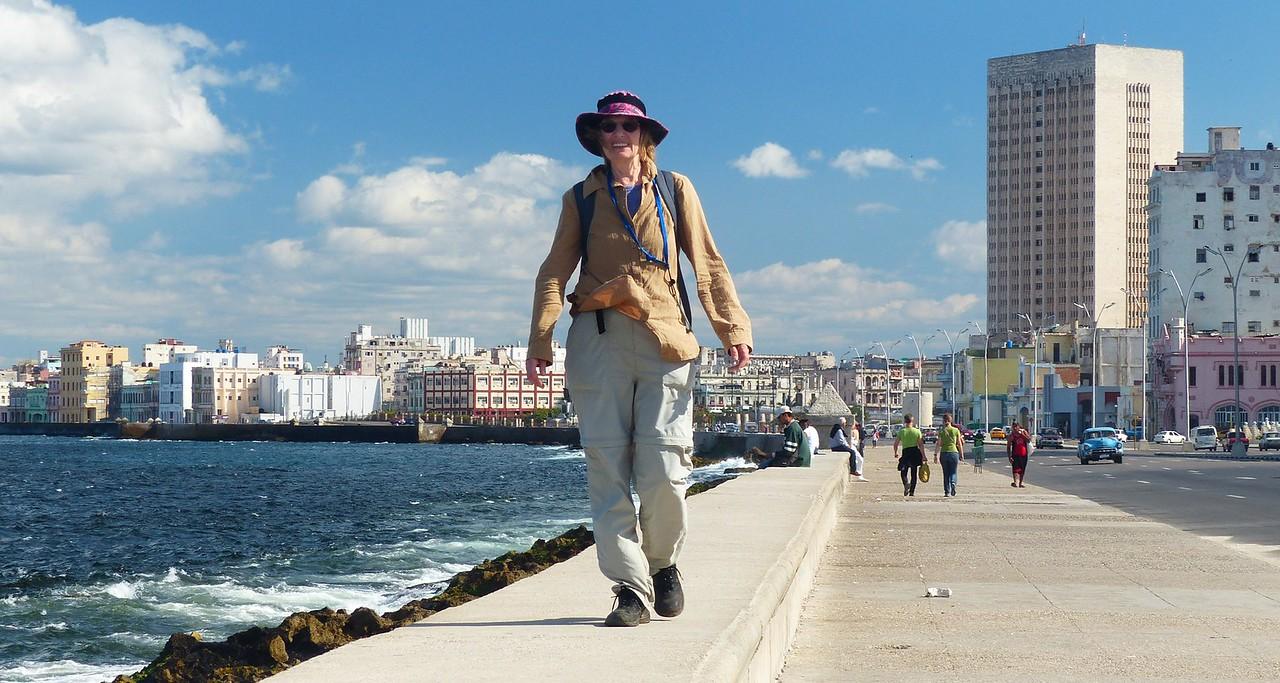 Havana - Rena walking along the Malacon
