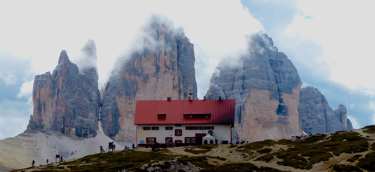 The Locatelli Hut is located near the Tre Cime di Lavaredo . This is one of the best known views in the Dolomites
