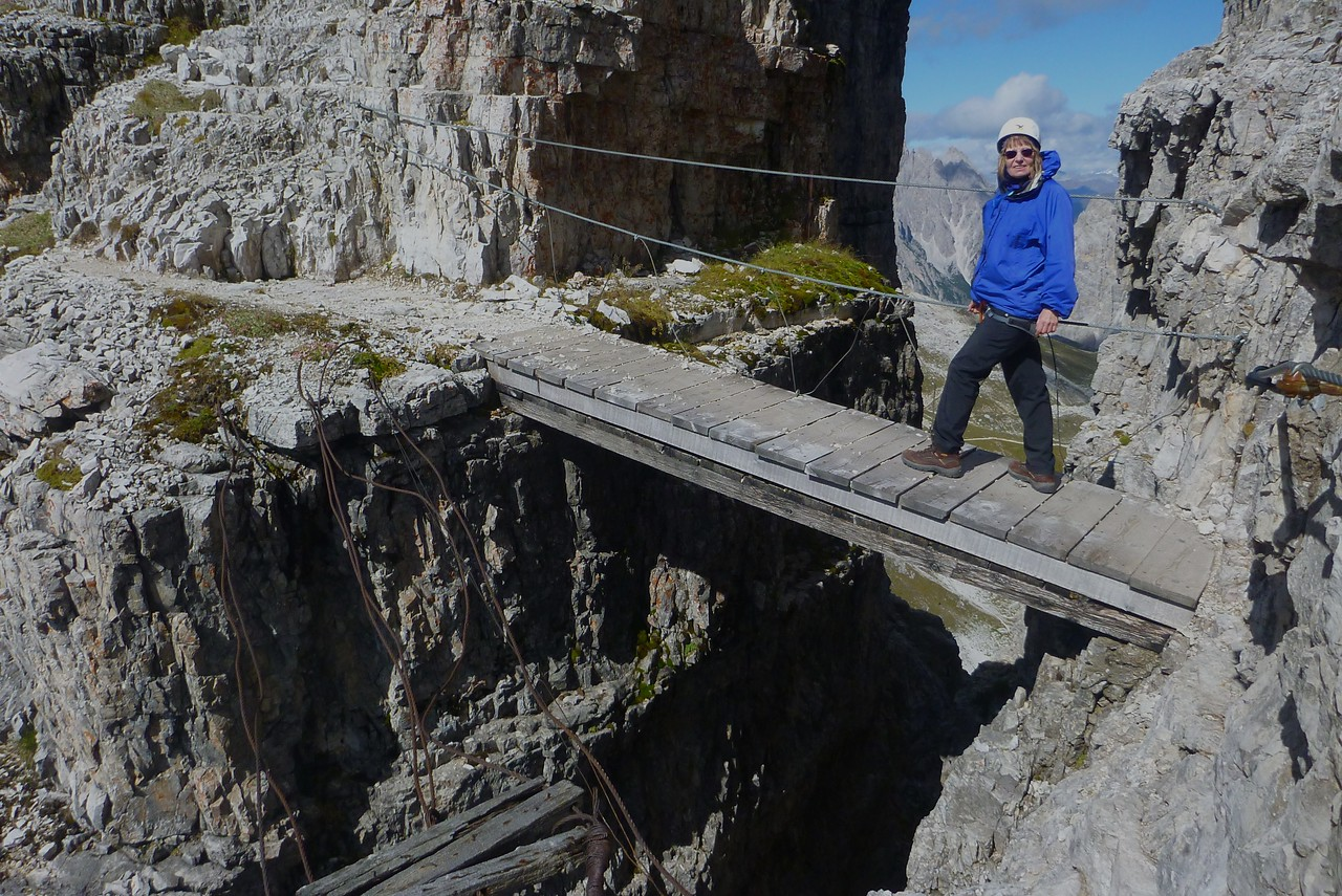 Mount Paterno Via Ferrata - We followed another trail to the west.  Note the old destroyed bridge