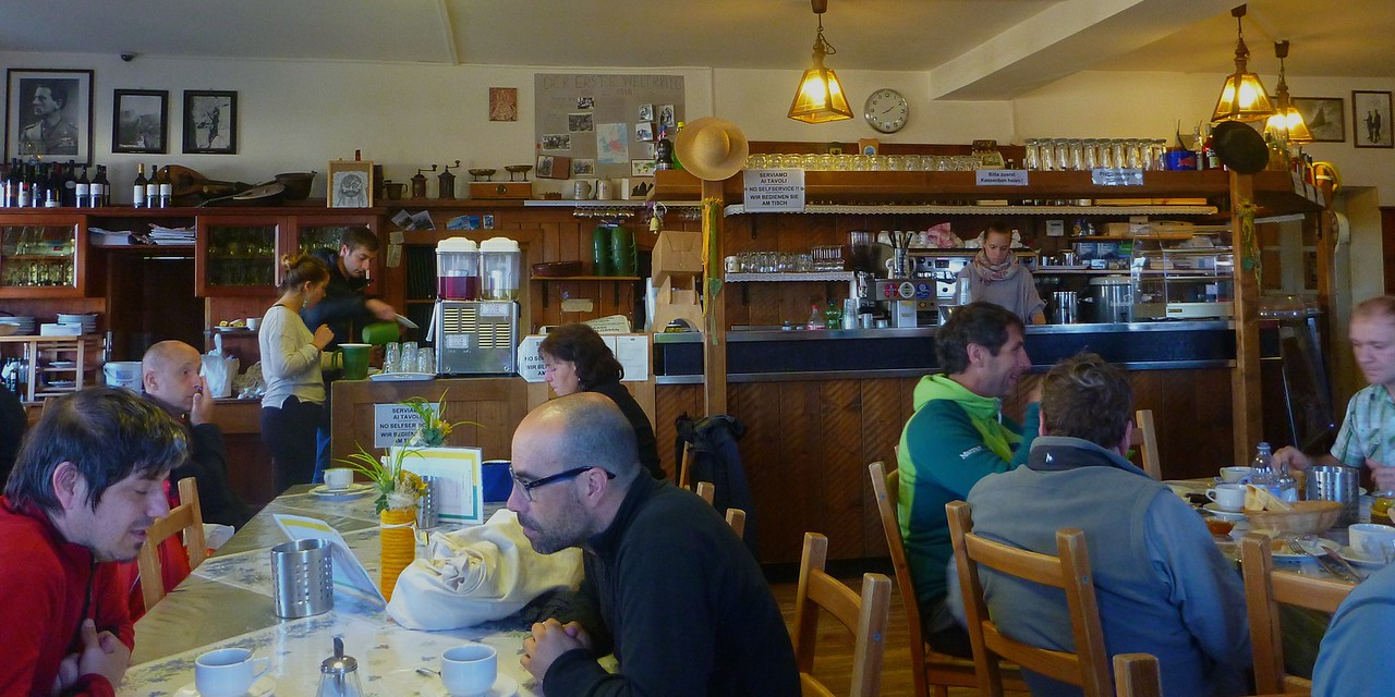 Breakfast in Locatelli Hut - this hut accommodated more than 100 people