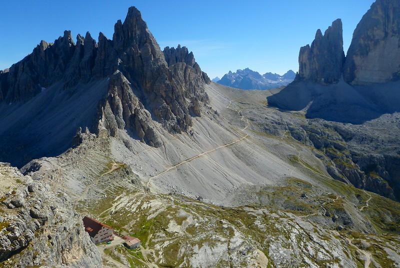Torre Doblino Via Ferrata - View of Locatelli Hut after descending