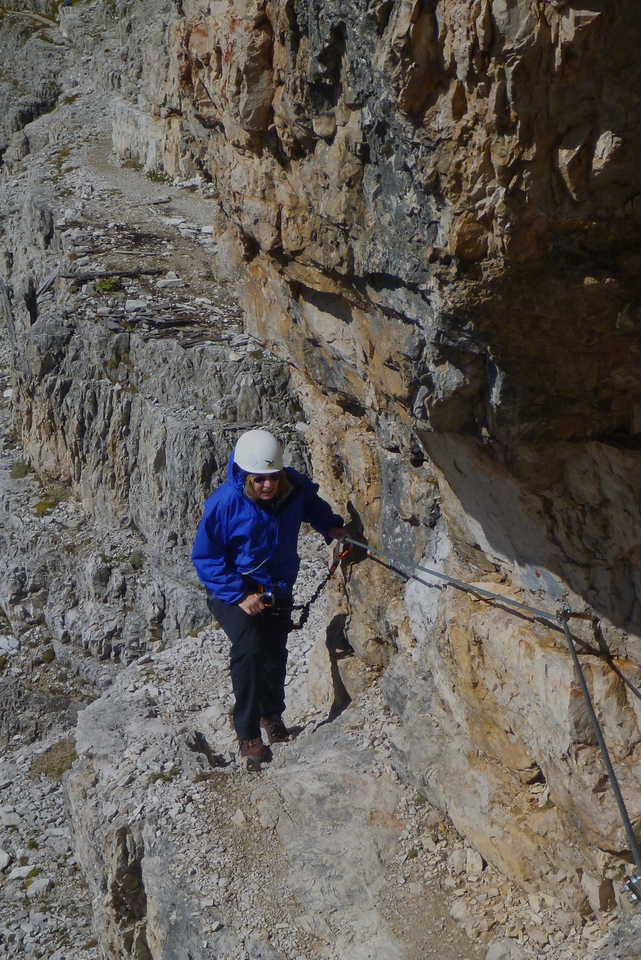 The following day, we put on the gear that we had rented earlier and started the Paterno Via Ferrata.  The difficult or exposed areas have cables bolted into the rock.
