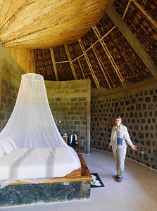 Mosquito netting was supplied at all the hotels in the  South. This is the  Korebta Lodge in Konso.