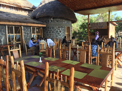 Great outdoor seating at one of the nicer places we stayed. The Paradise  Lodge in Arba Minch.