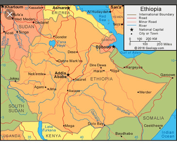 Ethiopia Map - The trek took place in Tigray almost at the northern border with Eritrea.