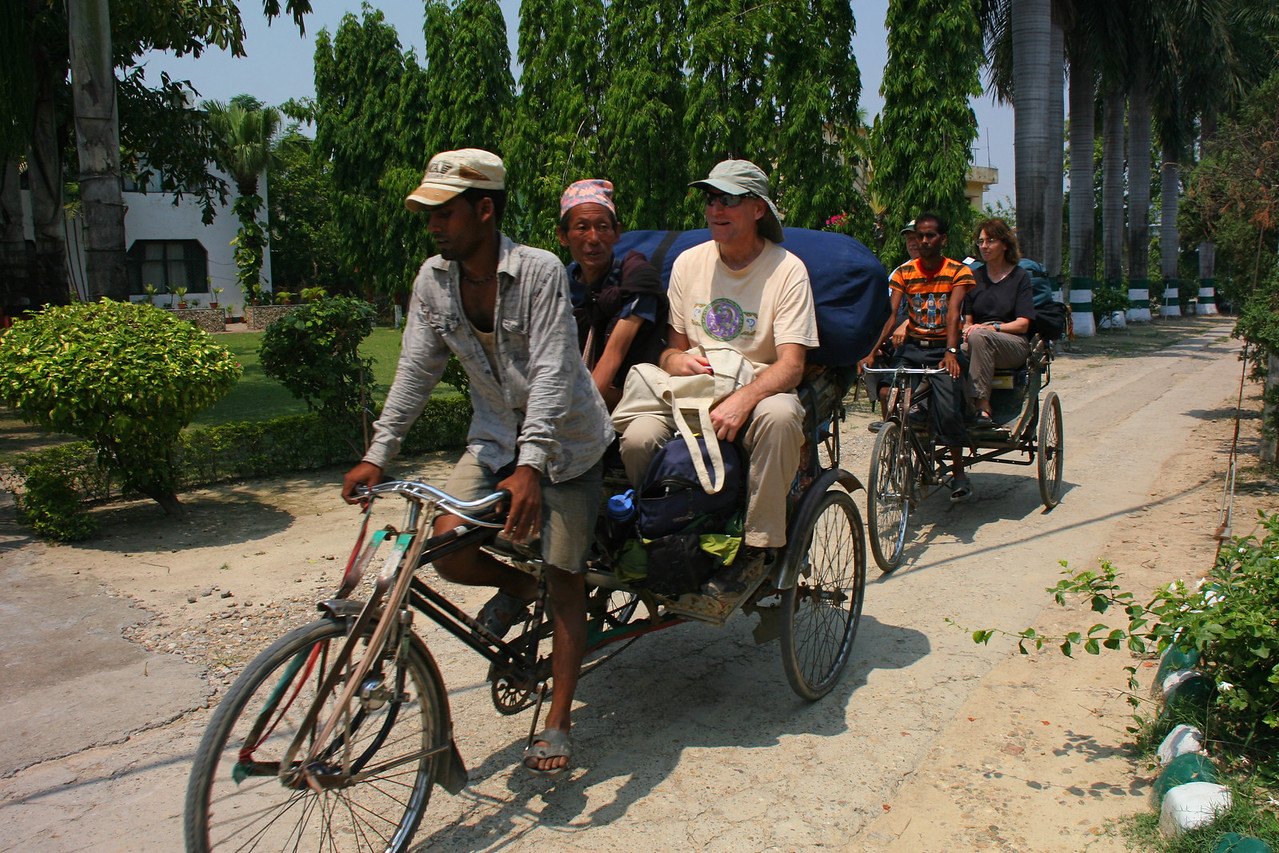 After arriving in Kathmandu, we fly to Nepalgunj, a dusty hot town on the Indian border. Our flight to Simikot is the next morning. There is a strike in Nepal that grounds all motorized transport, so rickshaws are our choice to our hotel.