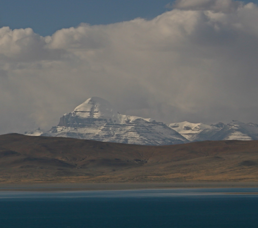 Our first view of Mt Kailash seen over Lake Rakas Tal