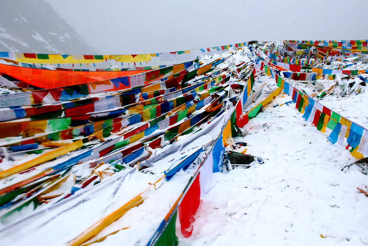There are prayer flags everywhere around the pass.