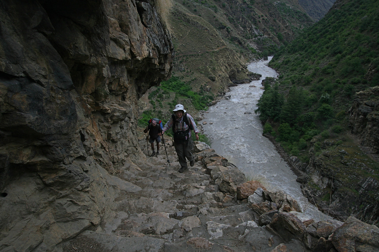 From Simikot at about 9, 700 feet, we drop down  several thousand feet to the Karnali River, which we will follow almost all the way to Tibet.