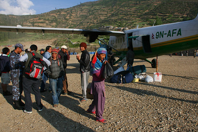 We fly to Simikot in the early morning in a small plane.