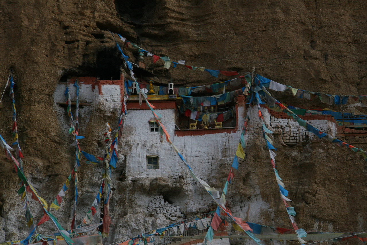 Further down stream of Tirthapuri, we visit an old Bon monastery, called Guru Gem, located high in a cliff.