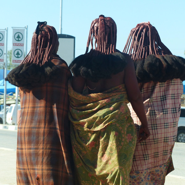 After Etosha, we drove to the town of  Opuwa where we spent the night. These 3 women were walking along the street. I took the photo while we were getting gas.