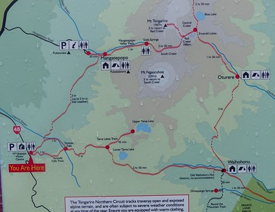 This describes the details of the  Tongariro Northern Circuit.   Note that many people do a version of day 2 as a dayhike starting from near the Mangatepopo Hut and finishing to the north of Emerald Lakes off the top of this map. This is called the Tongariro Crossing and is said to be the best dayhike in New Zealand.