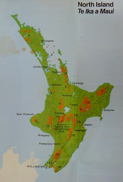 New Zealand contains many national parks shown as the orange shaded areas on this map. We flew into Auckland and then visited Rotorua , Taupo, and Tongariro NP. We then drove south to Wellington before crossing the strait to the South Island.
