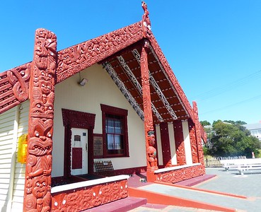 A Maori meeting house in the village.