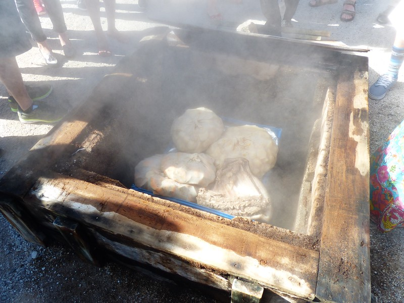 "The village people cook in the natural  ""ovens.""  Here, chunks of meat are left steaming while the people go to work. When they return home, dinner is ready."