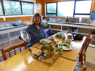 Before our Tongariro backpack, we spent a night in the Ski Haus Hostel in National Park Village. This is typical of the kitchens found in the hostels. They provide pots, pans, dishes, and utensils and we provide the food. Sometimes they also have oil, spices, and free food left by previous people who are flying back home and have extra.