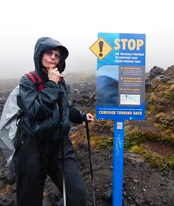 More rain and poor visibility on Day 2 when we go high between the 2 mountains. The trail is well marked and signed.